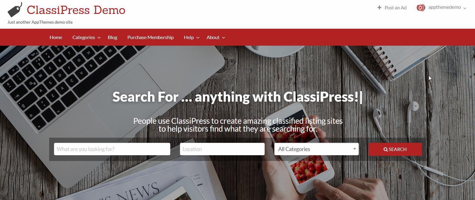 Демо-сайт с темой ClassiPress