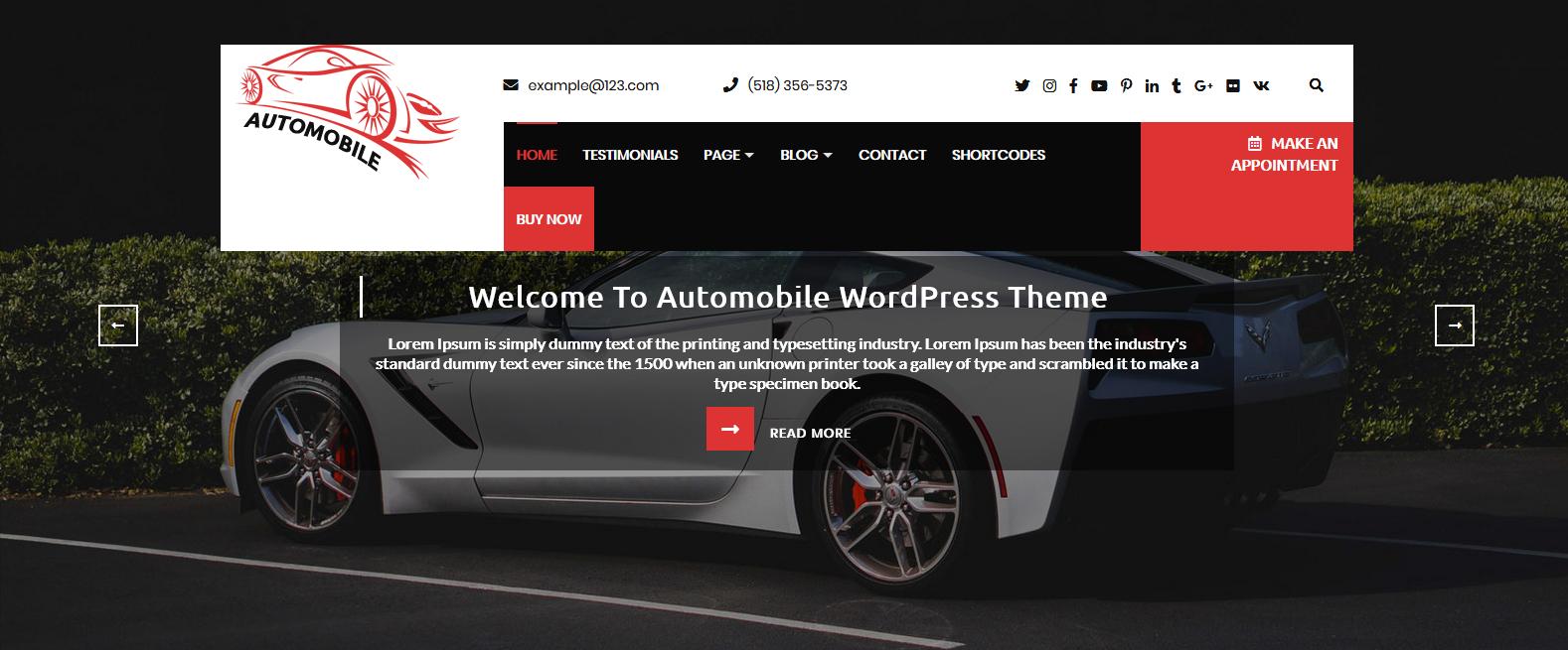 Демо-сайт с темой Automobile Car Dealer