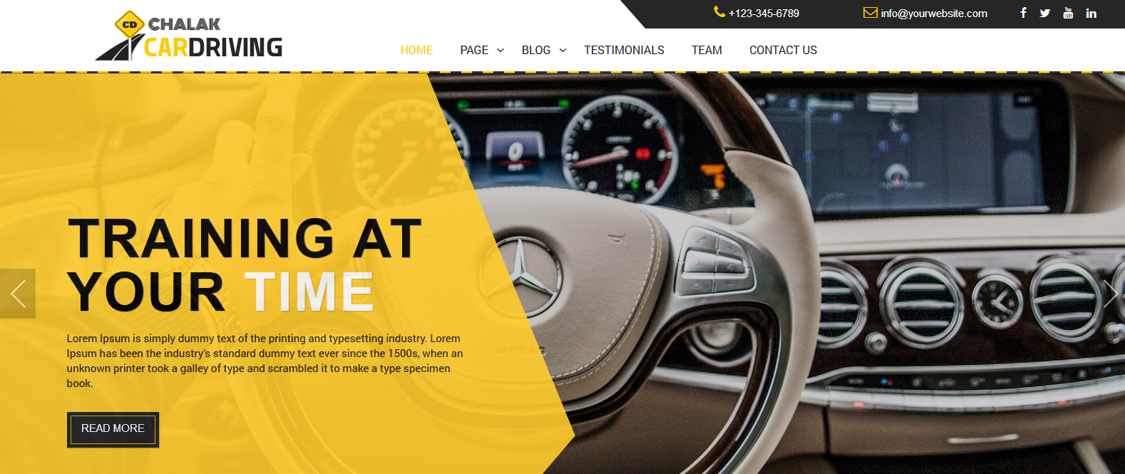 Демо-сайт с темой Chalak Driving School