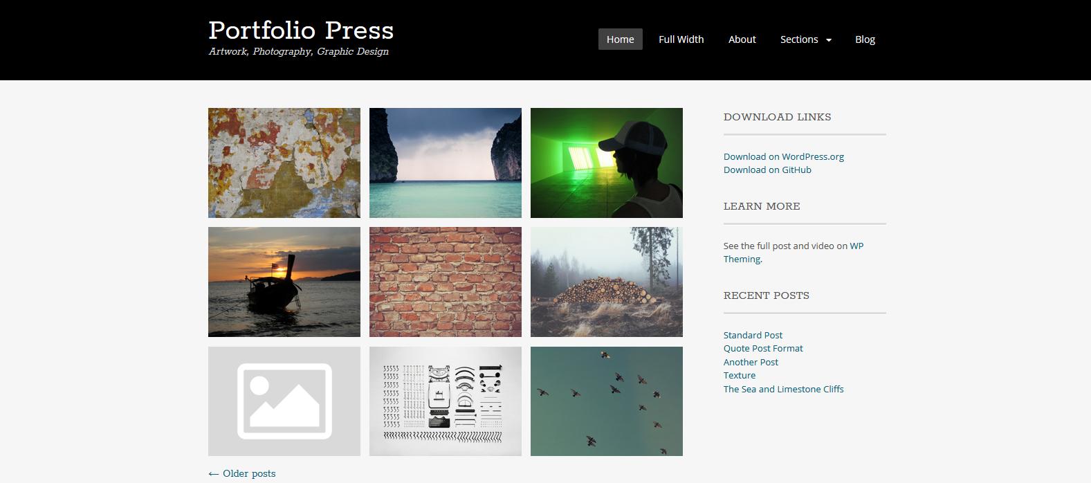 Демо-сайт с темой Portfolio Press