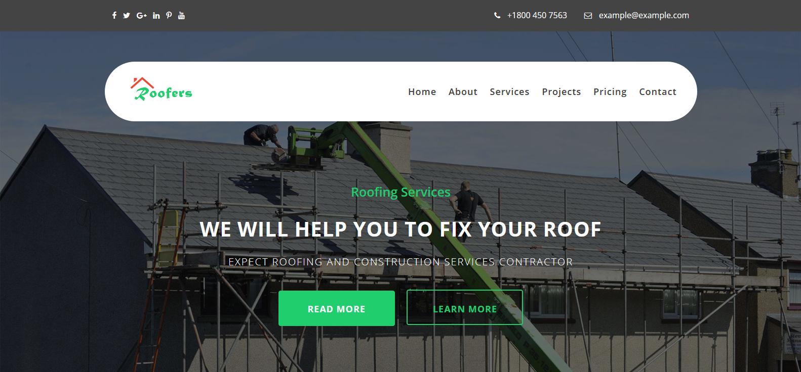 Демо-сайт с темой Roofers