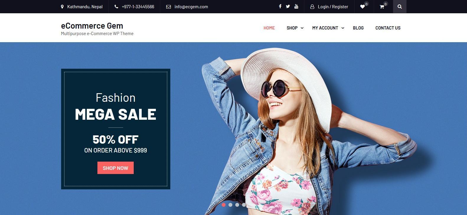 Демо-сайт с темой eCommerce Gem