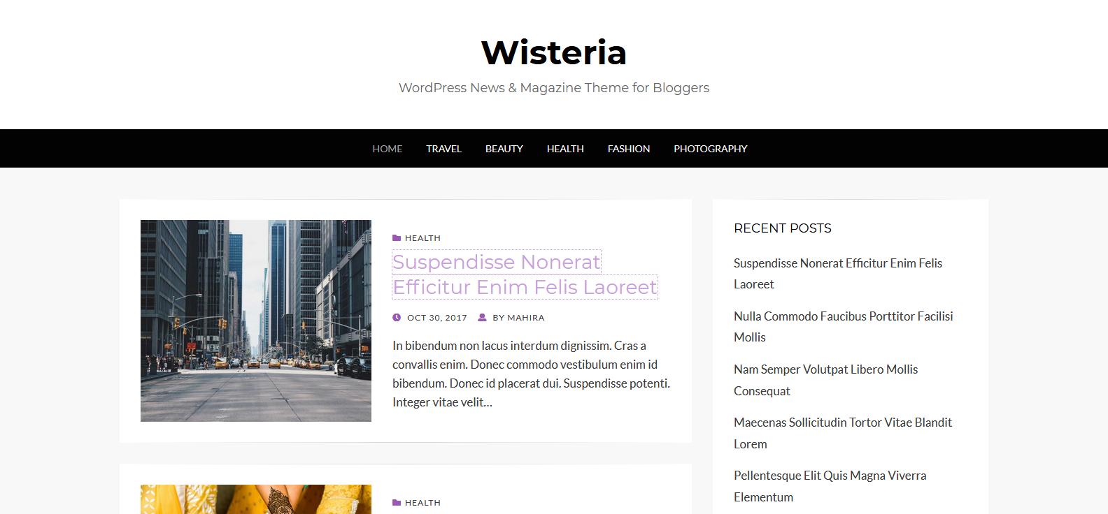 Демо-сайт с темой Wisteria
