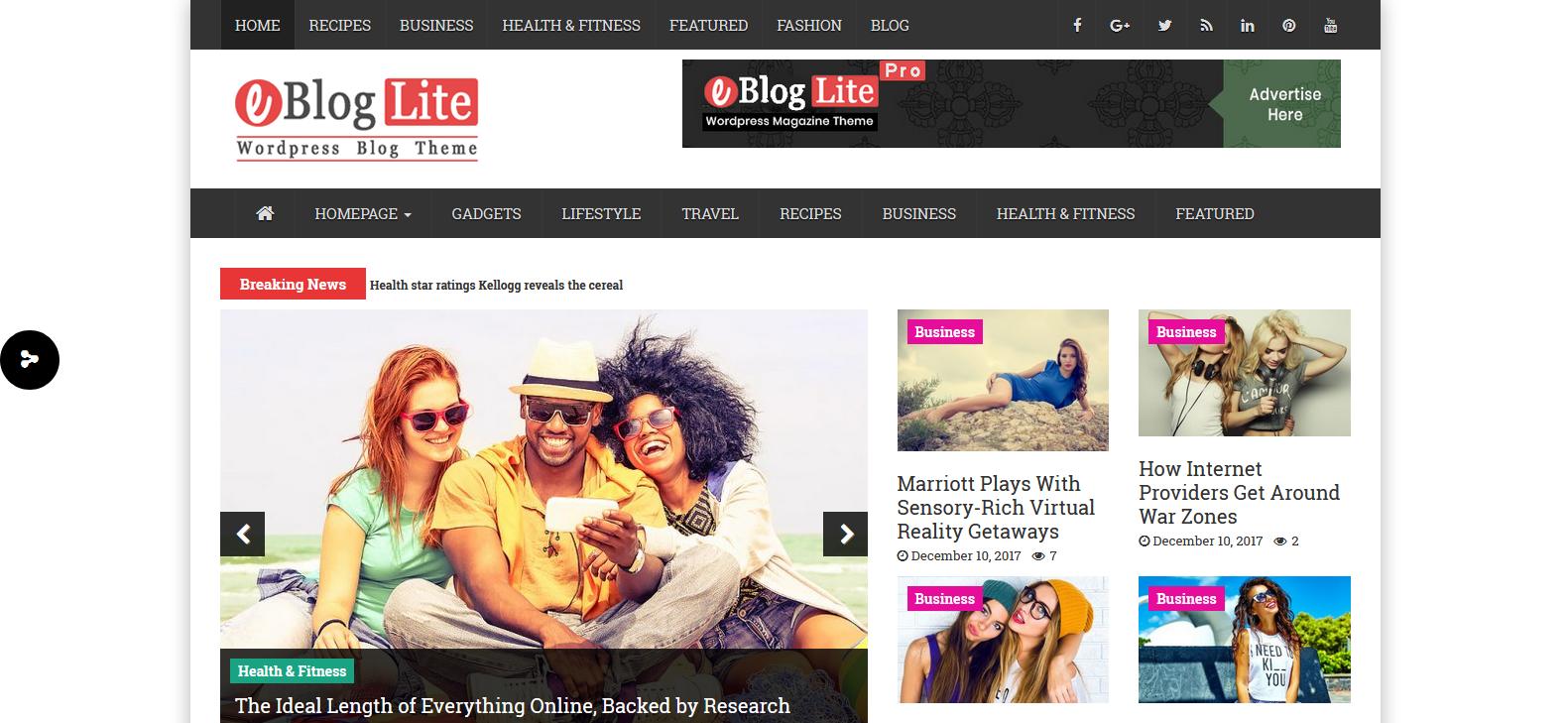 Демо-сайт с темой eBlog Lite