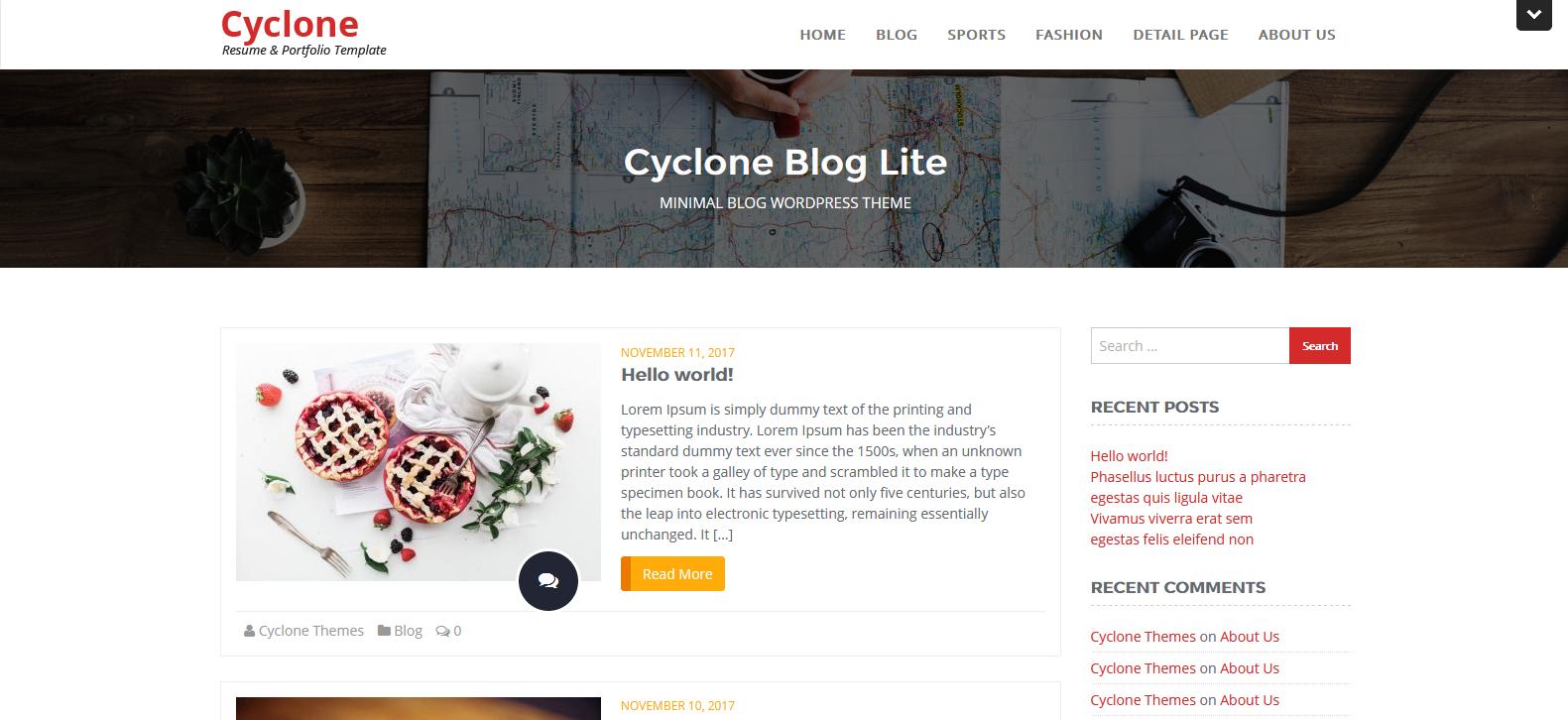 Демо-сайт с темой Cyclone Blog