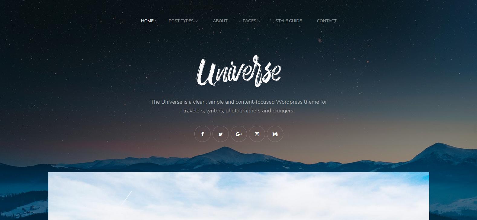 Демо-версия сайта с темой Universe