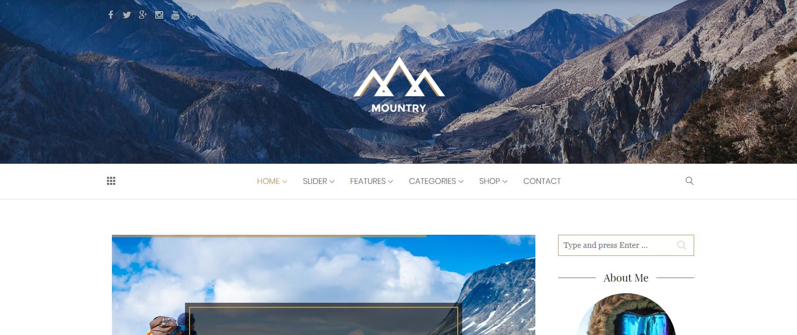 Демо-версия сайта с темой Mountry