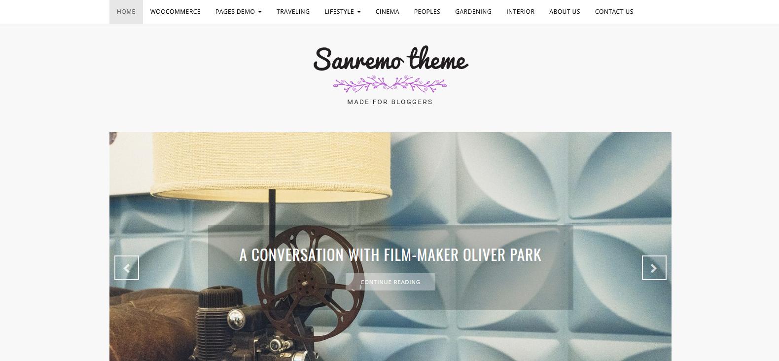 Демо-версия сайта с темой Sanremo