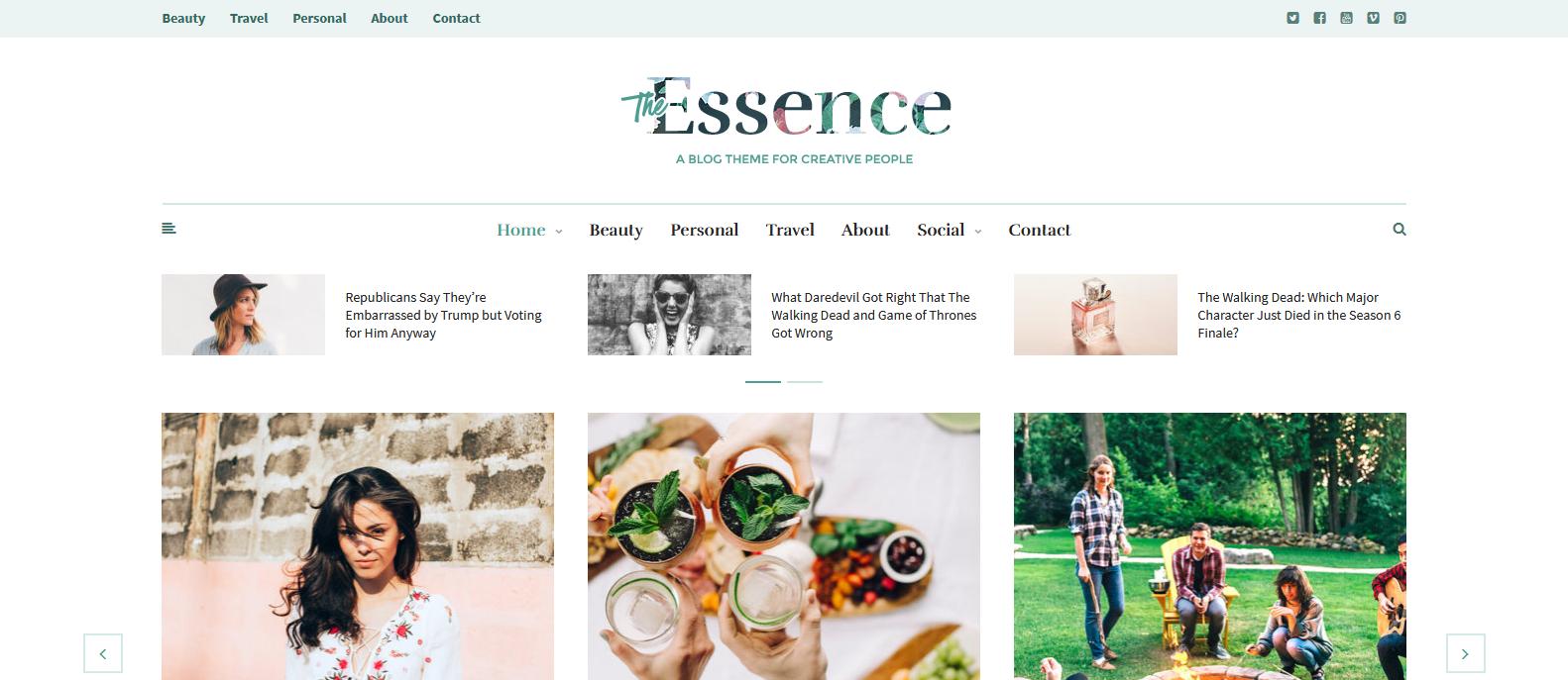 Демо-сайт с темой The Essence