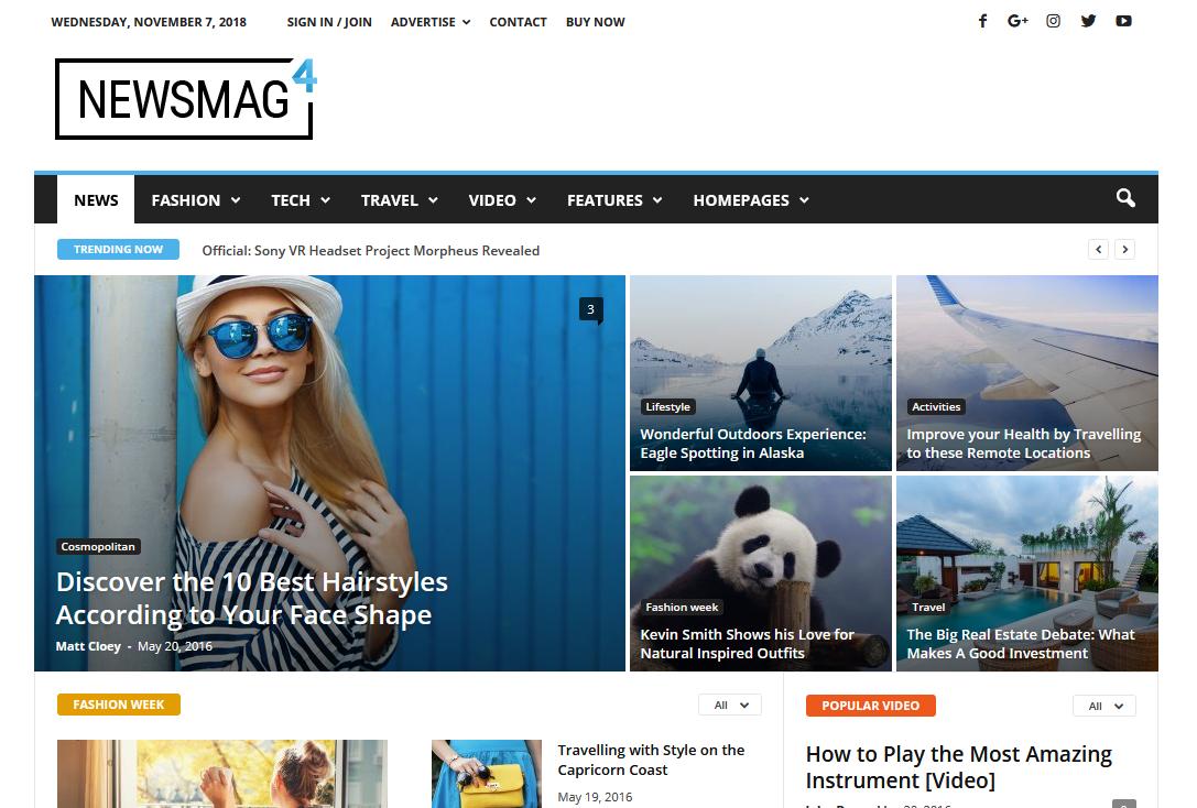 Демо сайт с темой Newsmag