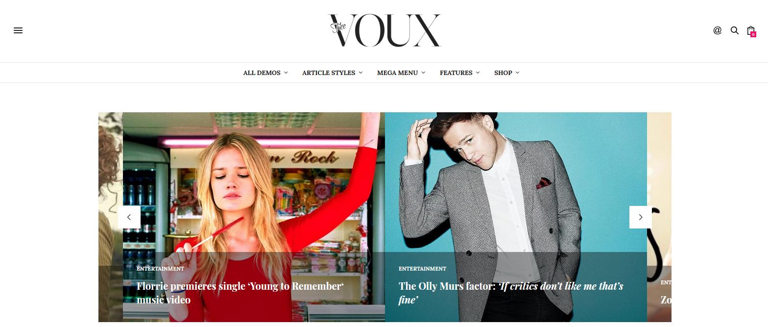 Демо сайт с темой The Voux
