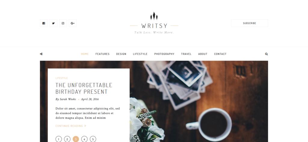 Демо-сайт с темой Writsy