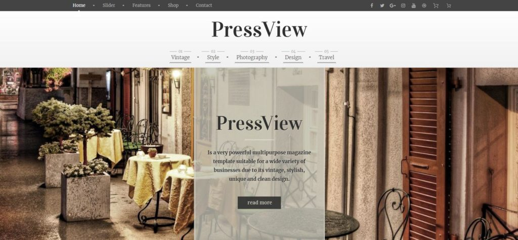Демо-сайт с темой PressView
