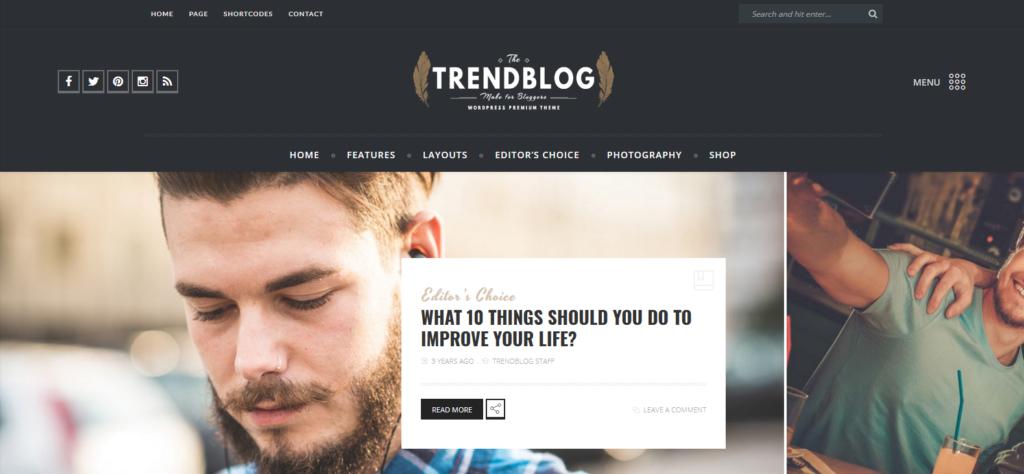 Демо-сайт с темой TrendBlog