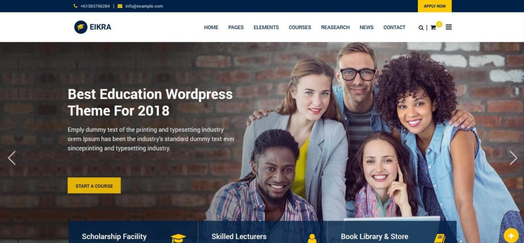 Демо сайт с WordPress темой Eikra Education