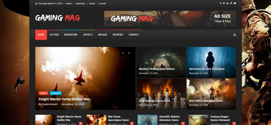 Демо сайт с темой Gaming Mag