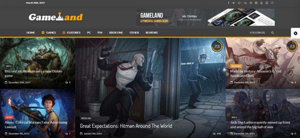 Демо сайт с темой News Gamer