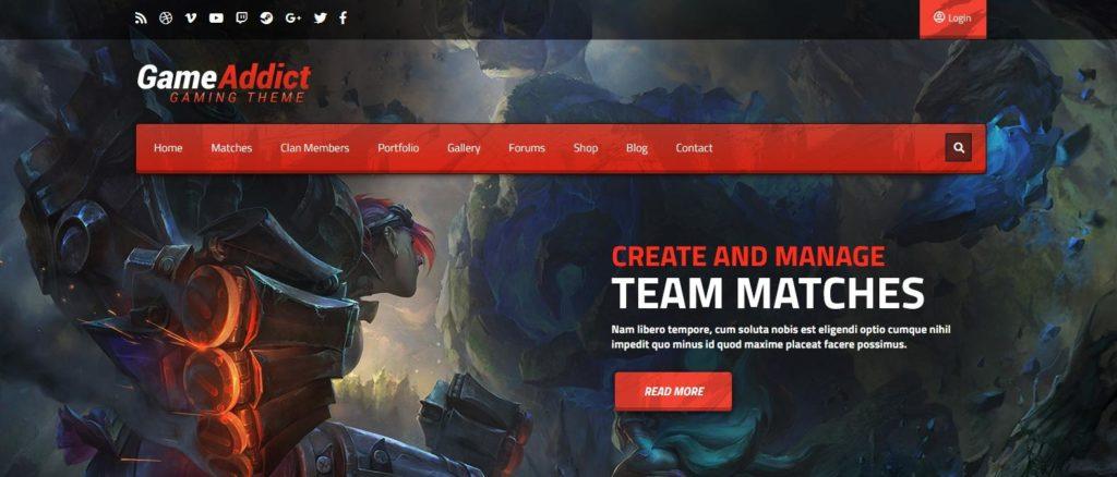 Демо сайт с темой Game Addict