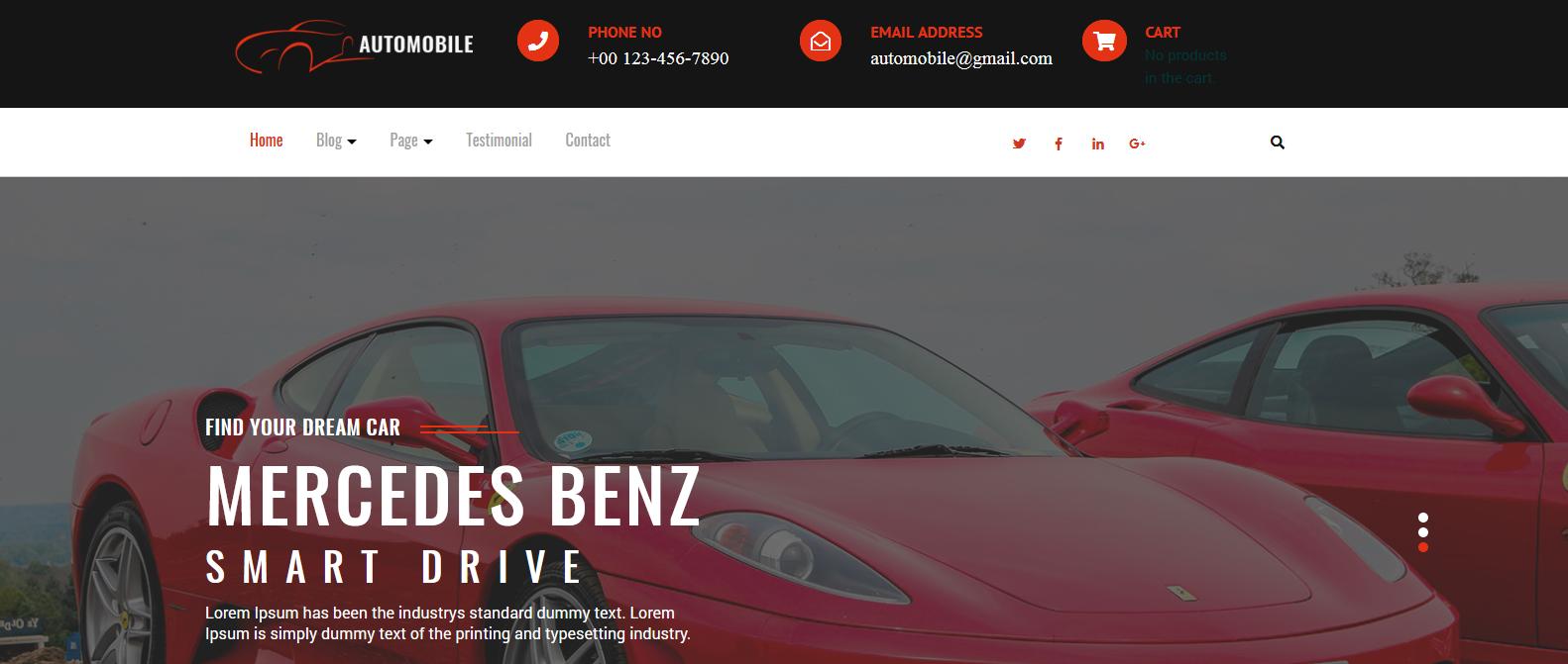 Демо сайт с темой Automobile Hub