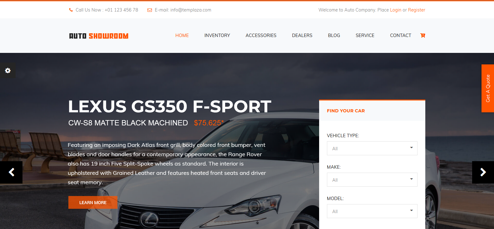 Демо сайт с темой Auto Showroom
