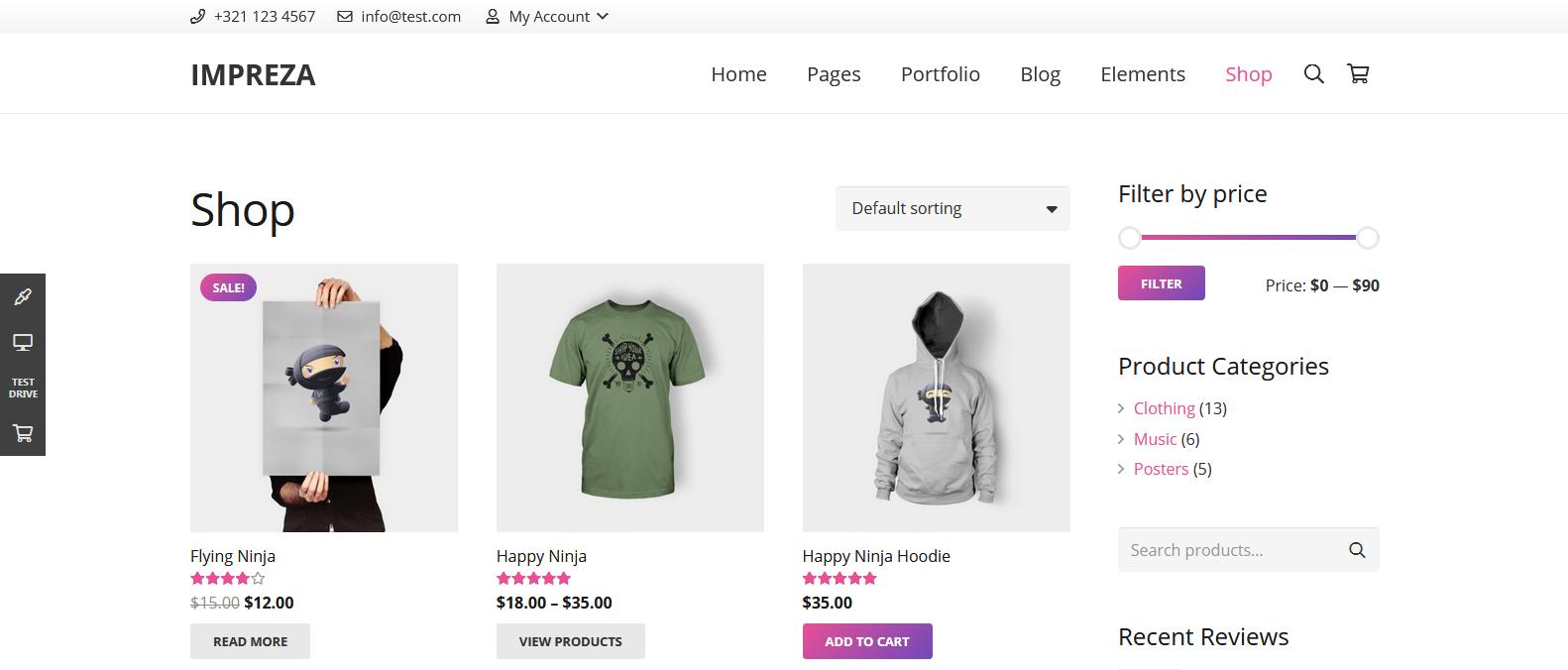 Демо сайт интернет-магазина с темой Impreza