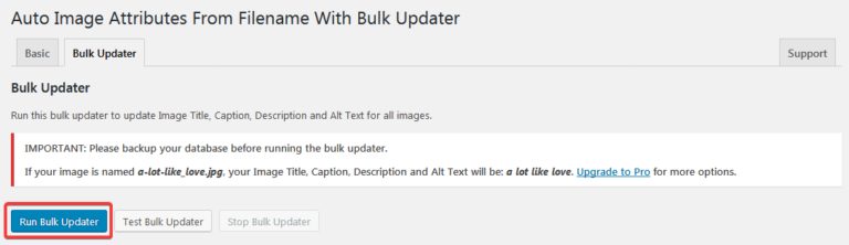 Настройка плагина Auto Image Attributes From Filename With Bulk Updater