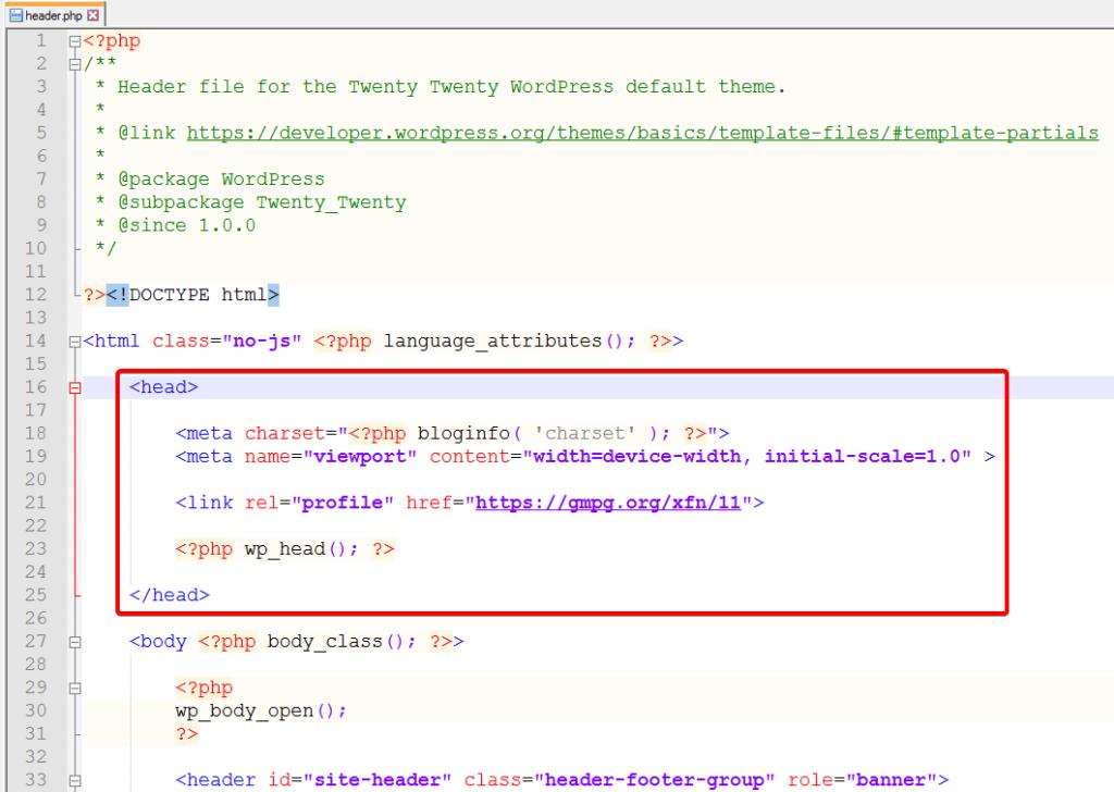 Файл header.php в теме Twenty Twenty