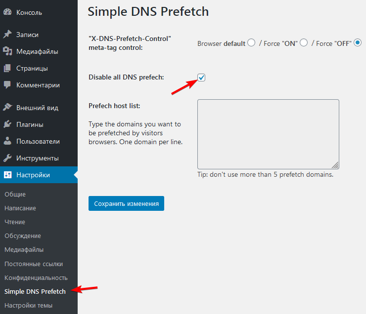 Настройка плагина Simple DNS Prefetch