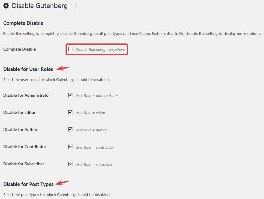 Выбор пользователей и типов записей в плагине Disable Gutenberg
