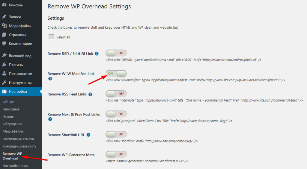 Настройка плагина Remove WordPress Overhead