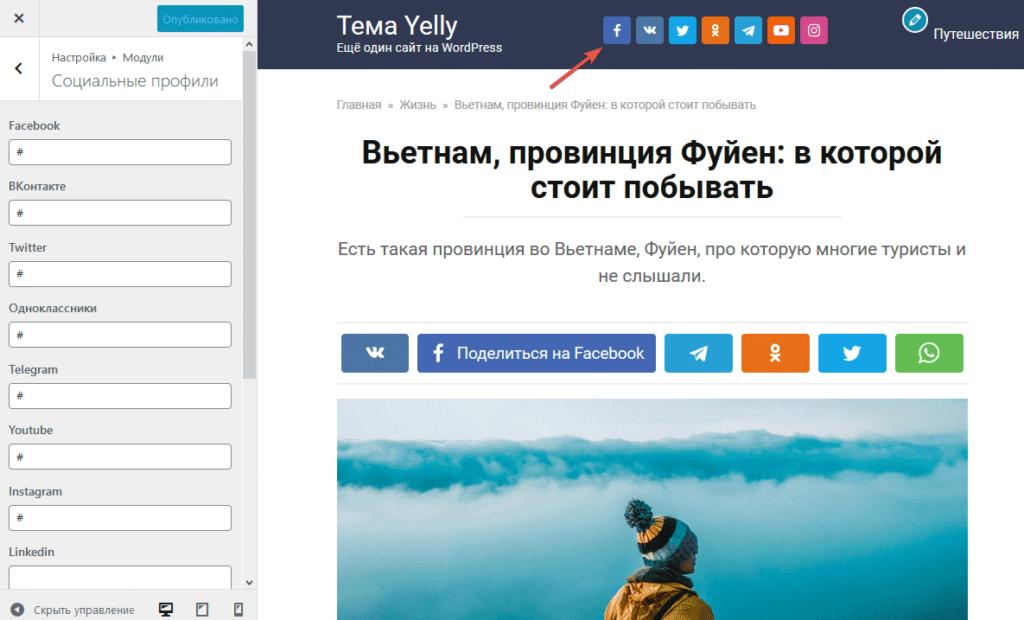 Настройка социальных профилей в теме Yelly