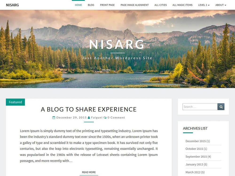 Демо-сайт на основе ВордПресс-темы Nisarg