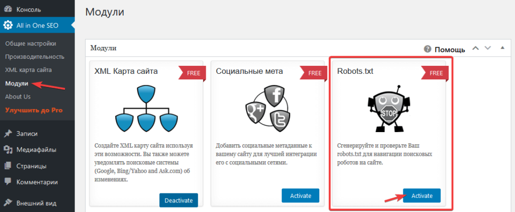 Активация модуля для работы с robots.txt в All in One SEO Pack